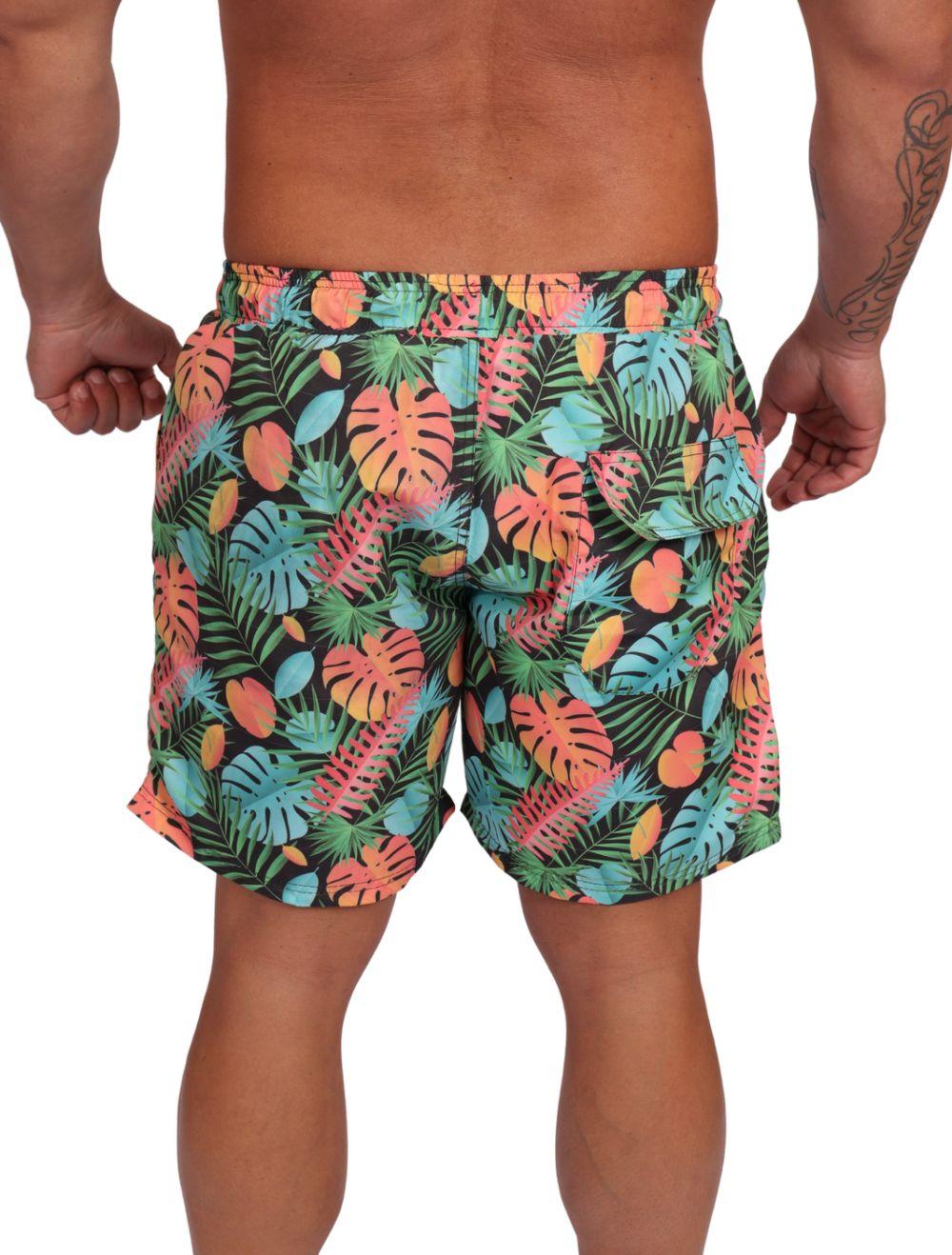 Shorts Praia Masculino Estampado Floral Tropical