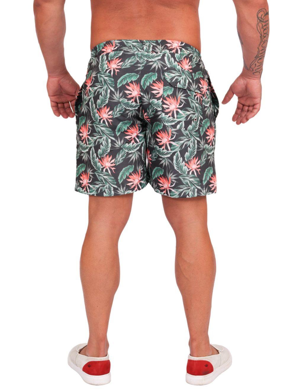 Shorts Praia Masculino Estampado Folhas