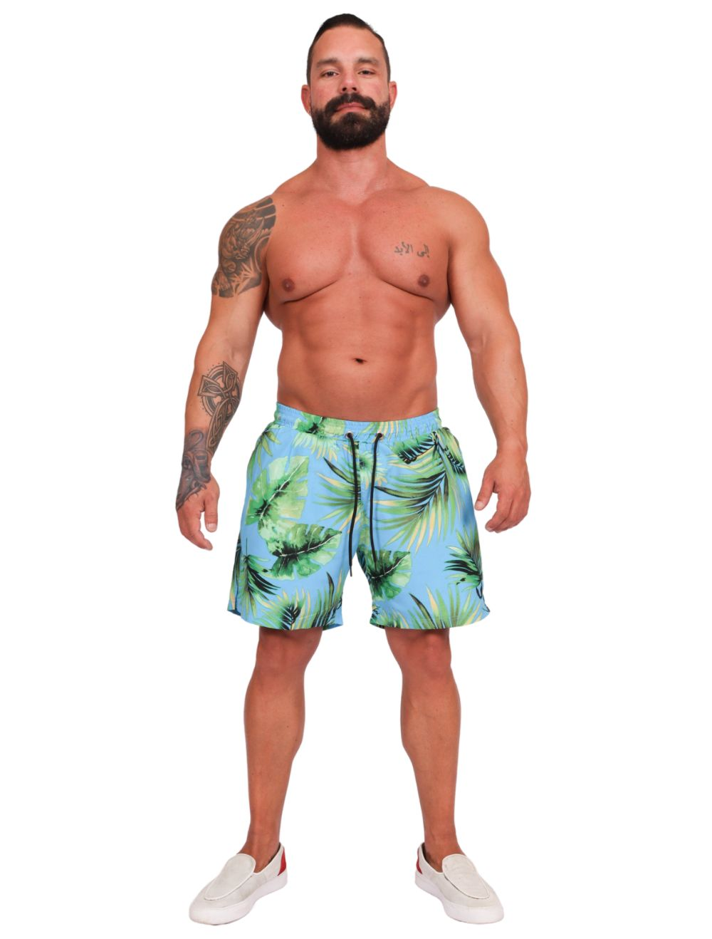 Shorts Praia Masculino Estampado Folhas Azul
