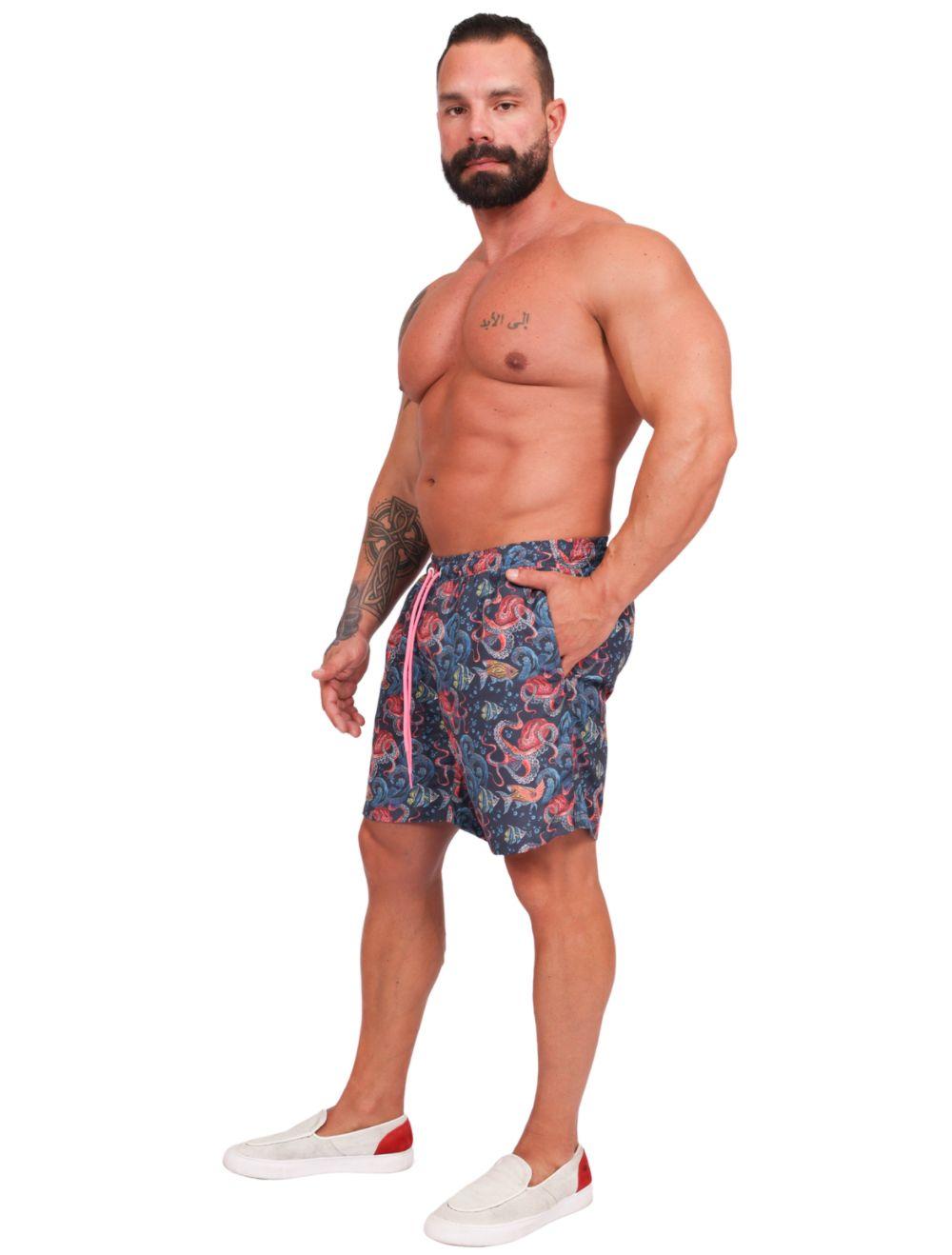 Shorts Praia Masculino Estampado Fundo do Mar
