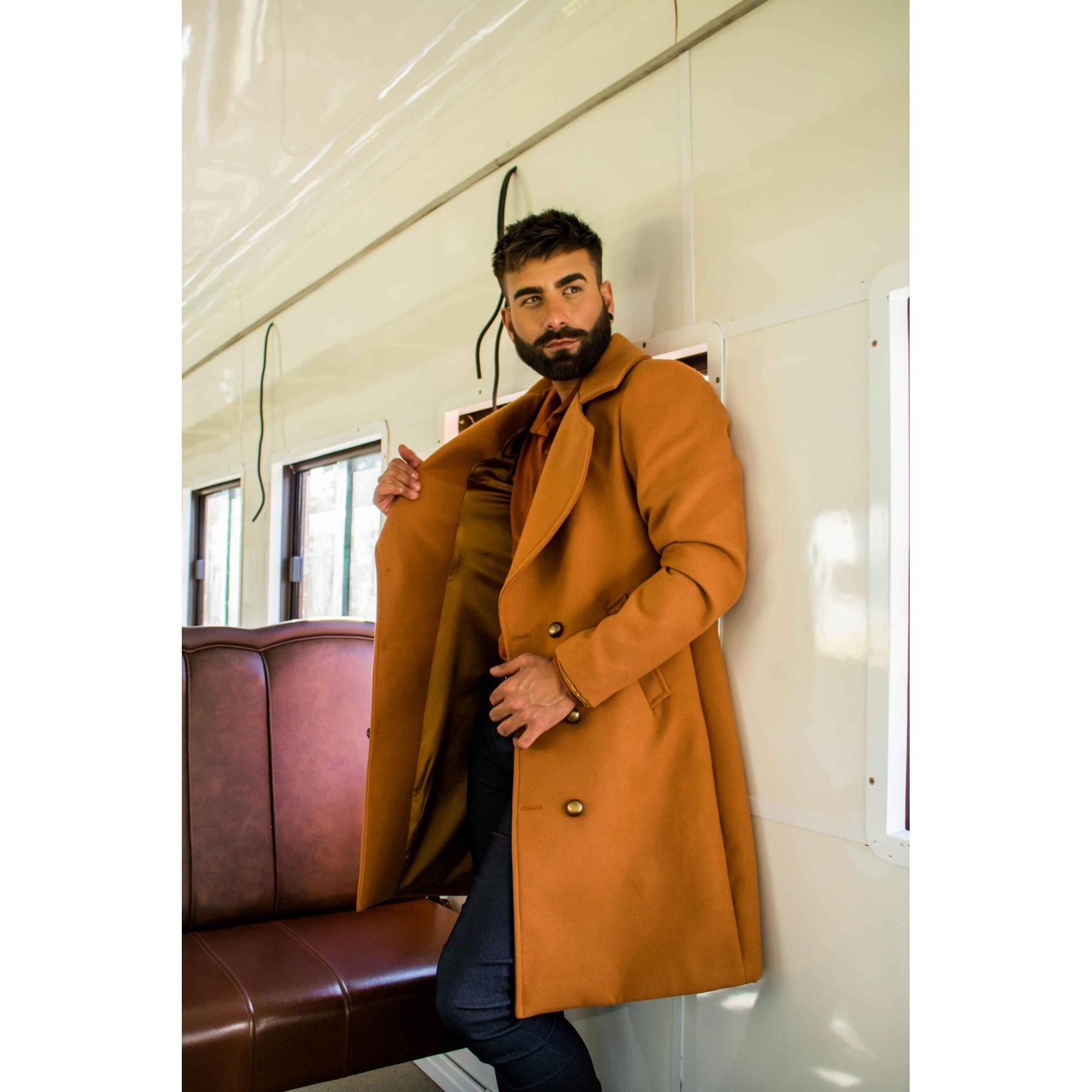 Sobretudo/Overcoat Masculino de Lã Marrom Caramelo