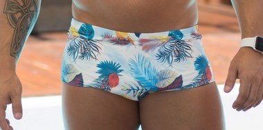 Sunga Masculina Bicolor Azul e Branco Tropical