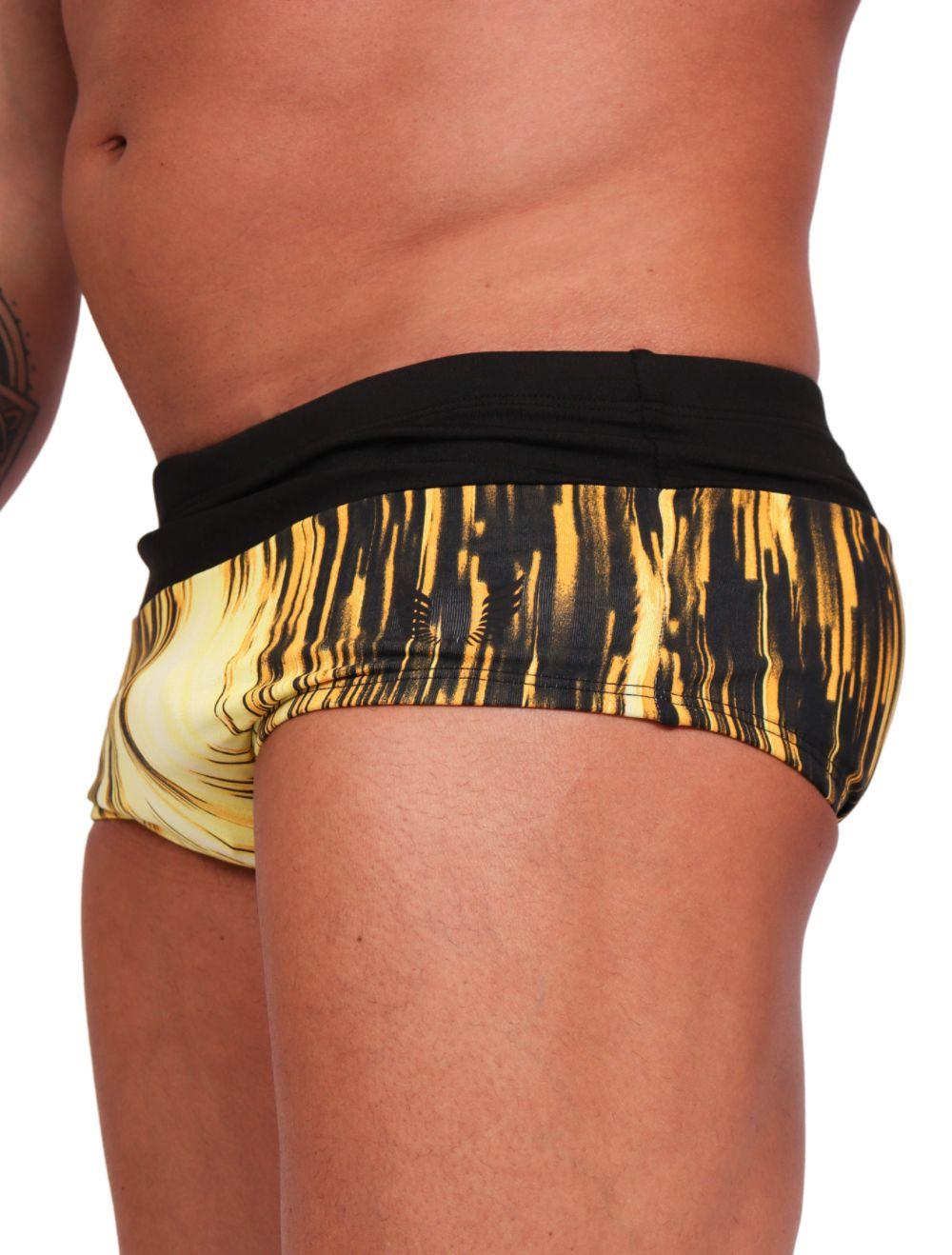 Sunga Masculina Bicolor Estampa Geométrica Amarela