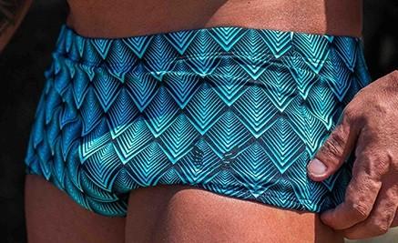 Sunga Masculina Estampada Geométrica Azul