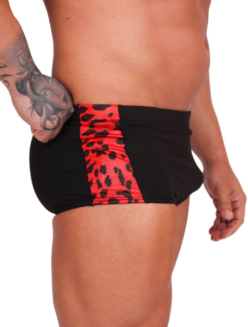Sunga Masculina Preta com detalhe em Animal Print Vermelho