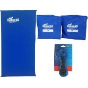 Kit Acessorios para ginastica treino em casa corda de pular + peso perna 2kg + colchonete academia