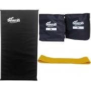 kit de ginástica com mini band leve tornozeleira de peso 2kg e colchonete academia