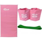 kit ginastica em casa mini band médio + caneleira de peso 2kg + colchonete de academia