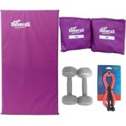 kit musculação corda de pular tornozeleira de peso 2 kg colchonete academia halteres 3 kg peso academia