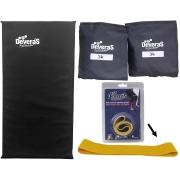 kit par de caneleira academia tornozeleira peso 3 kg colchonete para ginastica e mini band elástico musculação