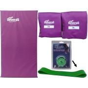 kit par de caneleira peso 3 kg tornozeleira peso colchonete de ginastica e mini band médio elástico musculação