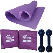 kit treino em casa com pesos musculacao halteres 1 kg + colchonete academia eva + caneleira peso 2 kg