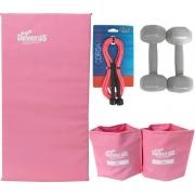 kit treino em casa corda de exercicio tornozeleira de peso 2 kg colchonete para ginastica halteres emborrachado 1 kg