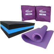 kit treino funcional em casa colchonete academia + caneleira peso 2 kg + step eva ginastica
