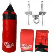 Saco de pancada / saco pancada cheio profissional 70 cm + suporte teto saco pancada + par de luvas bate saco luva boxe