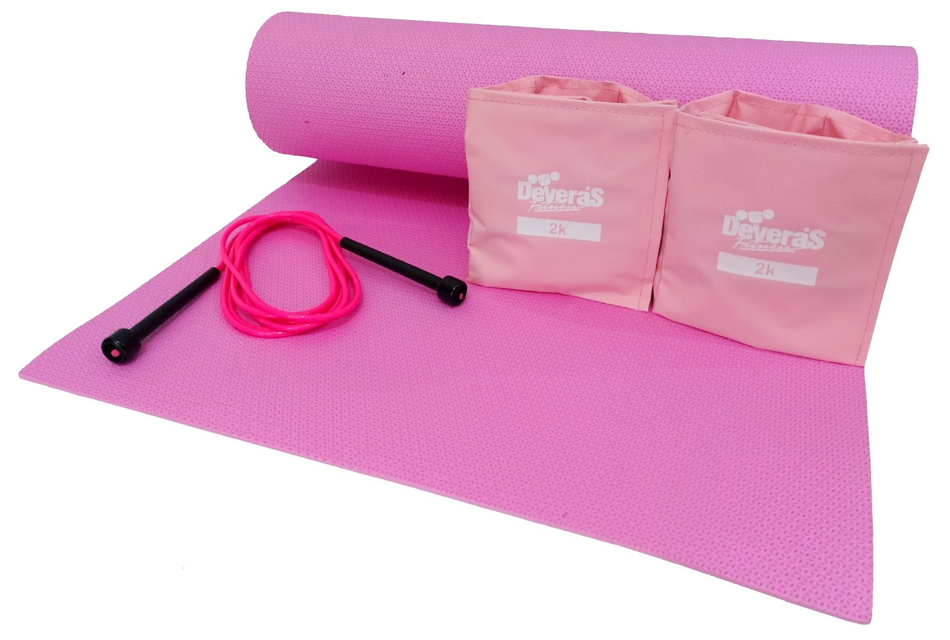 Kit treino em casa colchonete ginastica + tornozeleira peso 2 kg + corda de pular para exercicios