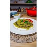 Refeição de arroz Integral com Carne Assada e Alho Porró