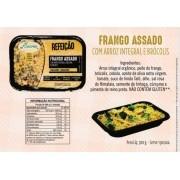 Refeição de arroz Integral com Frango Assado e Brócolis