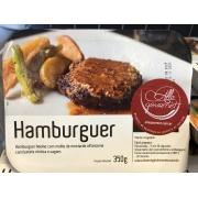 Refeição Hamburger ao molho de mostarda, batatas rústicas e vagem