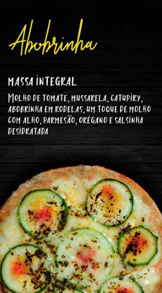 Pizzita de abobrinha, massa integral, molho de tomate, mussarela, catupiry, abobrinha em rodela e parmesão, 4 unid.