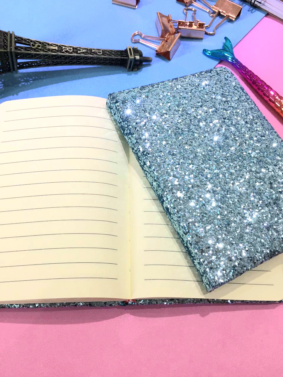 Caderneta Capa Dura - Glitter Flocado