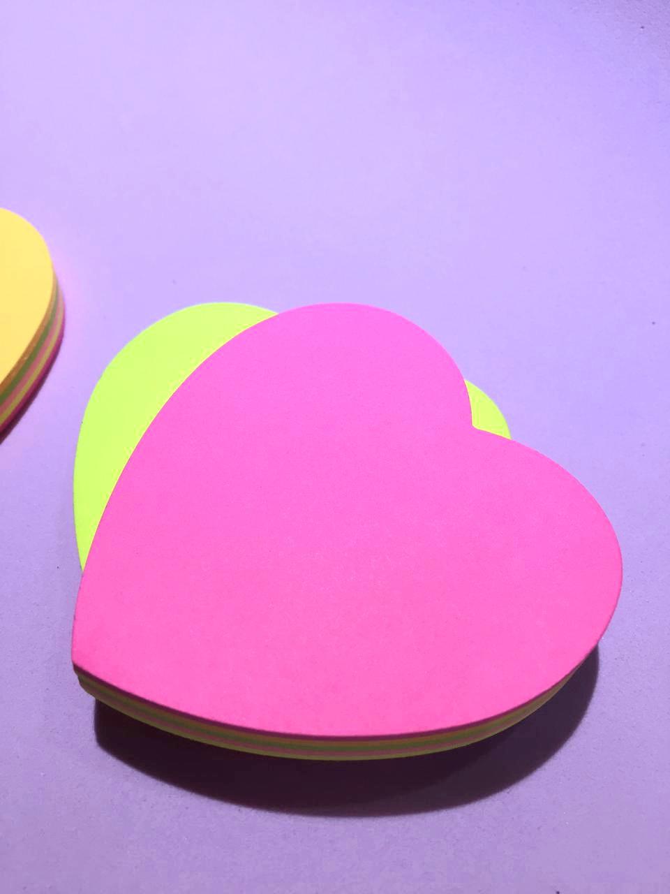 Sticky Note Coração 5 cores- Neon