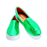 Slipper Craquelado Cromo Verde