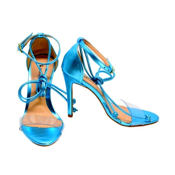 Sandália de Salto Alto Azul Celeste