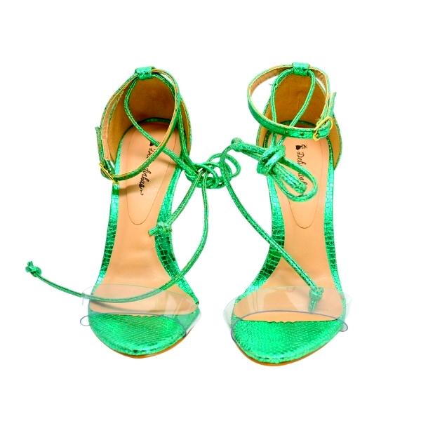 Sandália de Salto Alto Tulum Verde