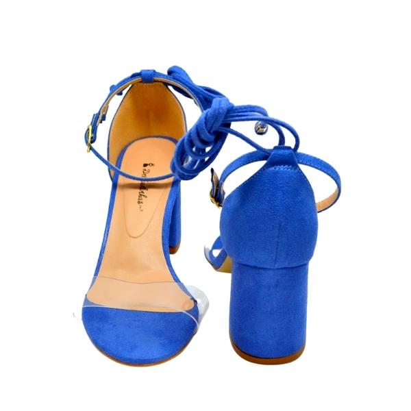 Sandália Salto Bloco Camurça Azul