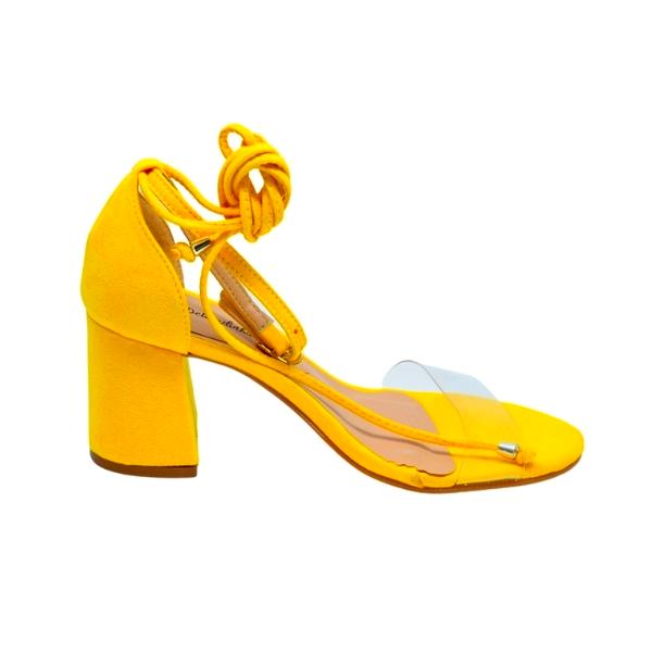 Sandália Salto Bloco Camurça Ouro