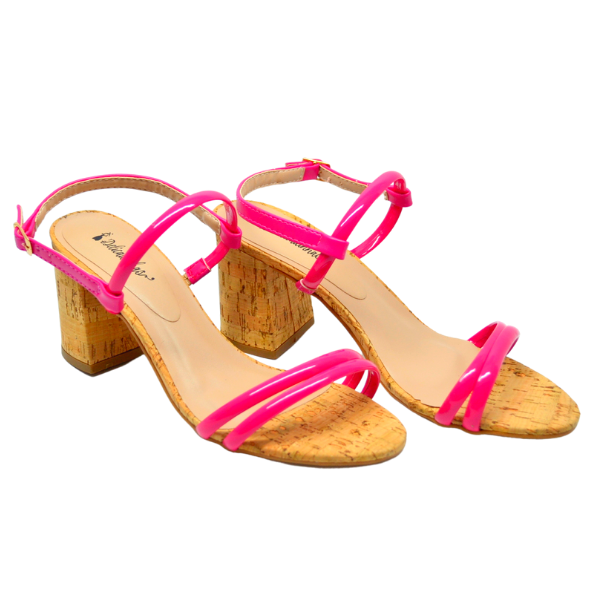 Sandália Salto Bloco Cristal Pink