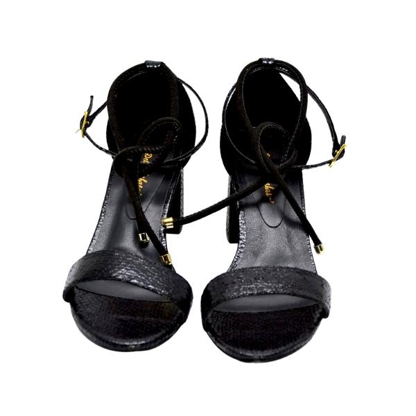 Sandália Salto Bloco Cristal Preto