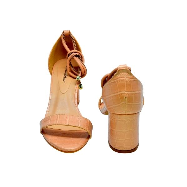 Sandália Salto Bloco Croco Nude