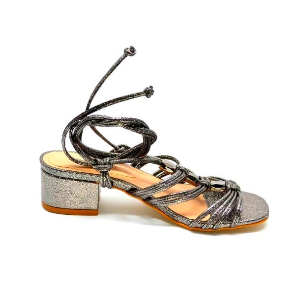 Sandália Salto Bloco 4 - Sparkle Prata Velho