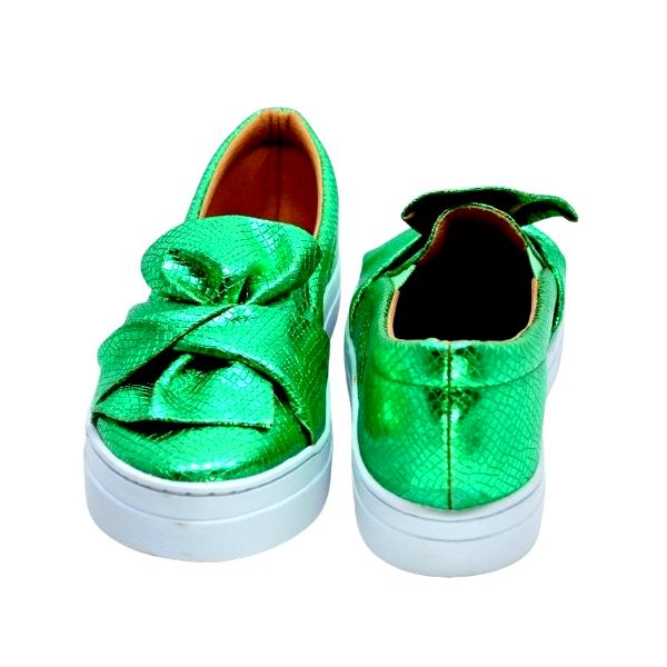Slipper Craquelado Laço Verde