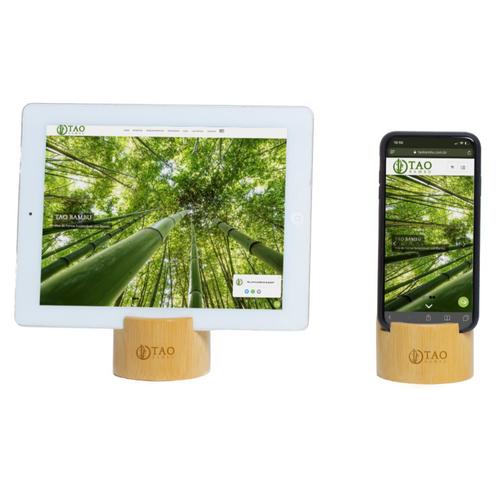 Apoio de Celular de Bambu - Acabamento Lixado