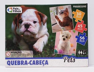 Quebra-Cabeça 1x30, 1x45, 1x56 peças - Pais & Filhos - Pets