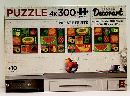 Quebra-Cabeça 4 x 300 peças - Grow - Linha Decorat, Pop Art Fruits
