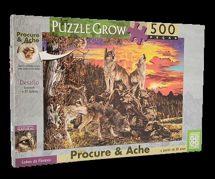 Quebra-Cabeça 500 peças - Grow - Lobos da Floresta, Procure e Ache