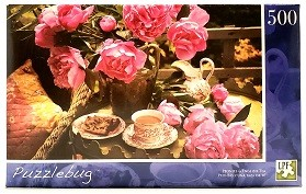 Quebra-Cabeça 500 peças - PuzzleBug - Peonies & English Tea