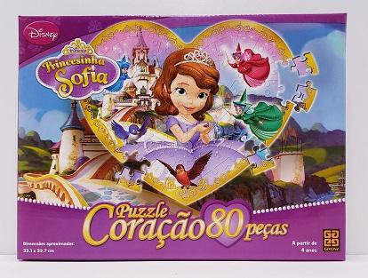 Quebra-Cabeça 80 peças - Grow - Princesinha Sofia - formato coração