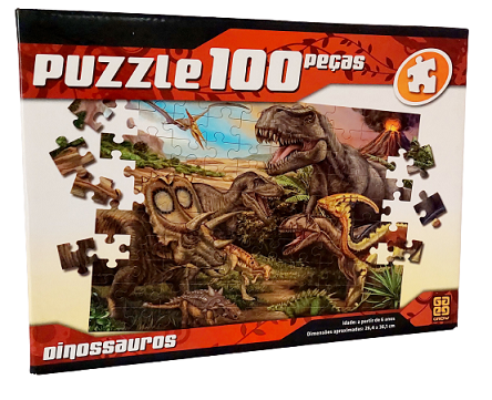 Quebra-Cabeças 100 peças - Grow - Dinossauros