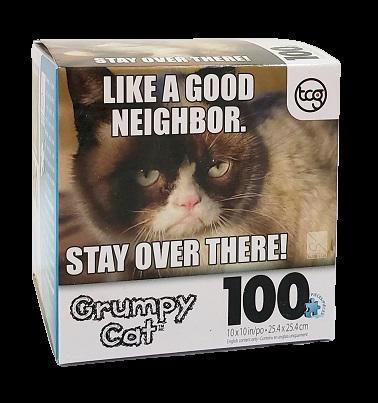 Quebra-Cabeças - 100 peças - Sure-Lox - Grumpt Cat, Like a Good Neighbor