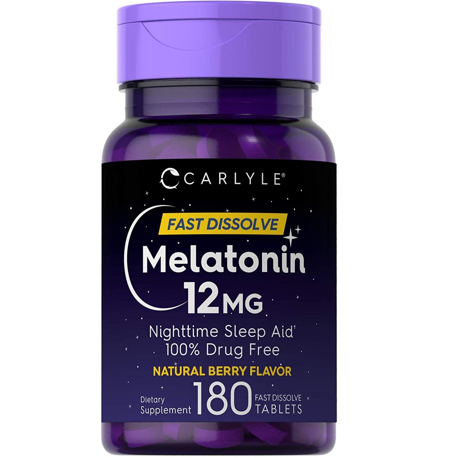 Melatonin Carlyle Vitamina Sleep Suport 100% natural 12mg com 180Cap