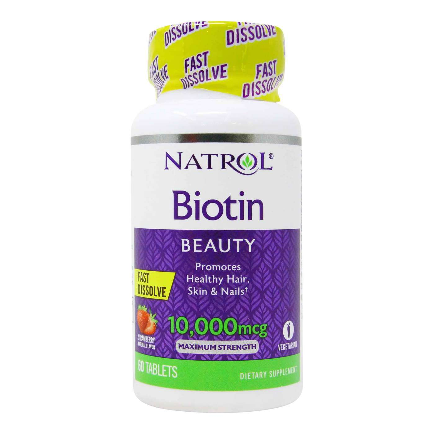 Natrol Biotina 60 Caps Morango 10.000 Mcg