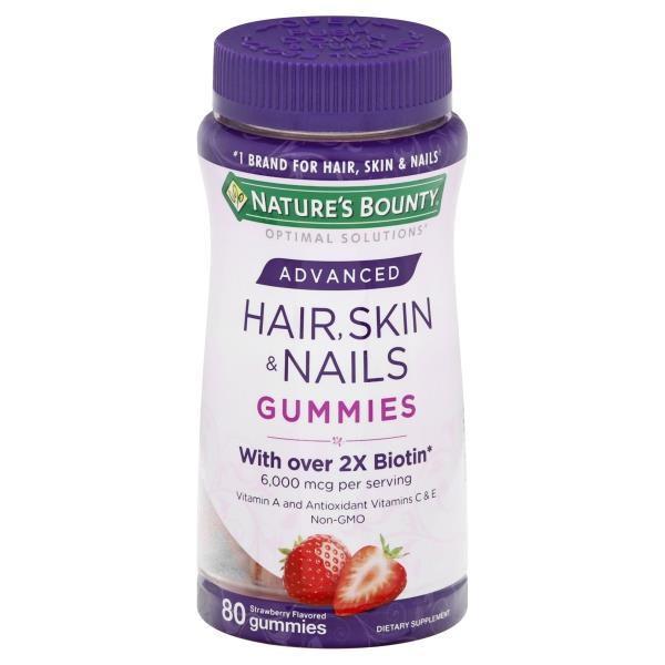 Natures Bounty Vitamina Hair Skin Nails 6000 mcg 80 Gummies