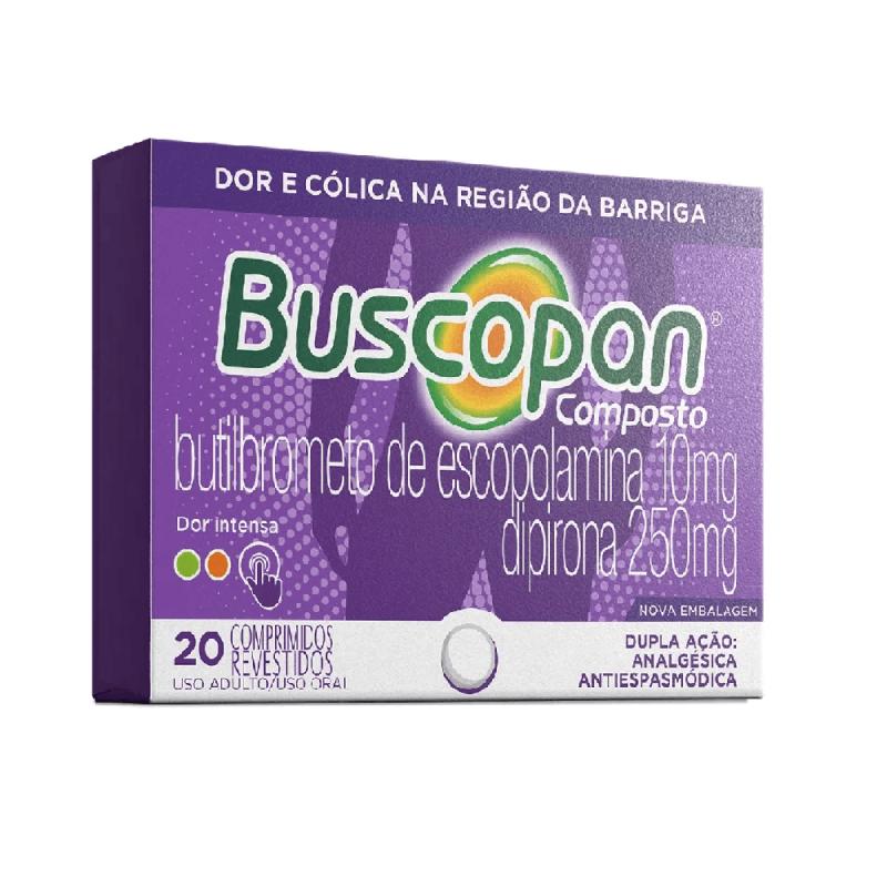 Buscopan- Butilbrometo de escopolamina 10mg + dipirona 250mg (20 Comprimidos)