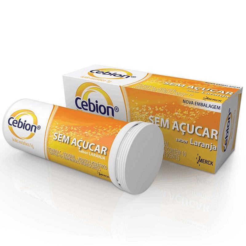 Cebion- Vitamina C sabor laranja 10 comprimidos efervescentes ( Sem Açúcar)