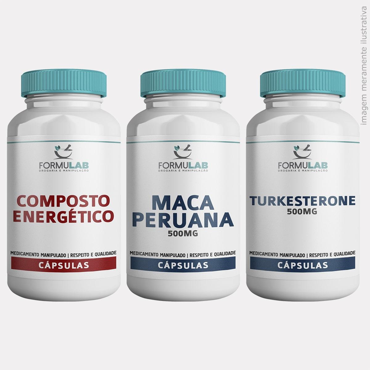 Kit DESEMPENHO FÍSICO - Composto Enérgico +  Maca Peruana 500mg + Turkesterone 500mg